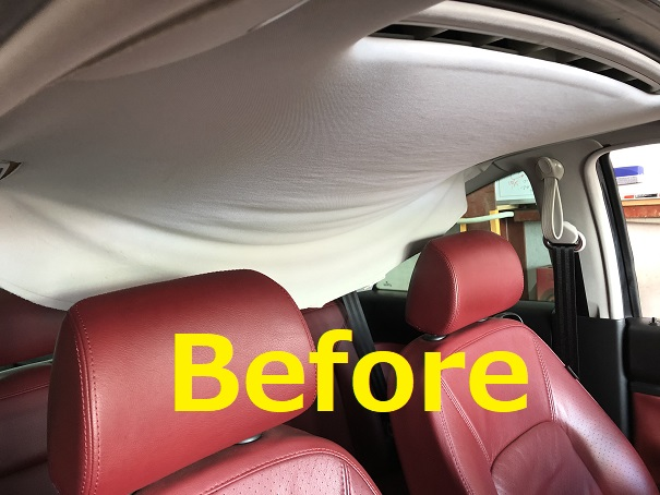 VW ニュービートル 天井落ち・剥がれ・垂れ下がり 天井張り替え|千葉市 白井市