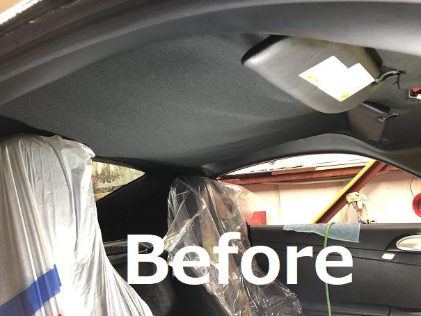 ポルシェ ケイマン ルーフの剥がれ・天井落ち 天井張り替え 修理|千葉市